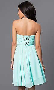 Image of Short Strapless Lace Up Sweetheart Dress Style: DQ-8951 Back Image