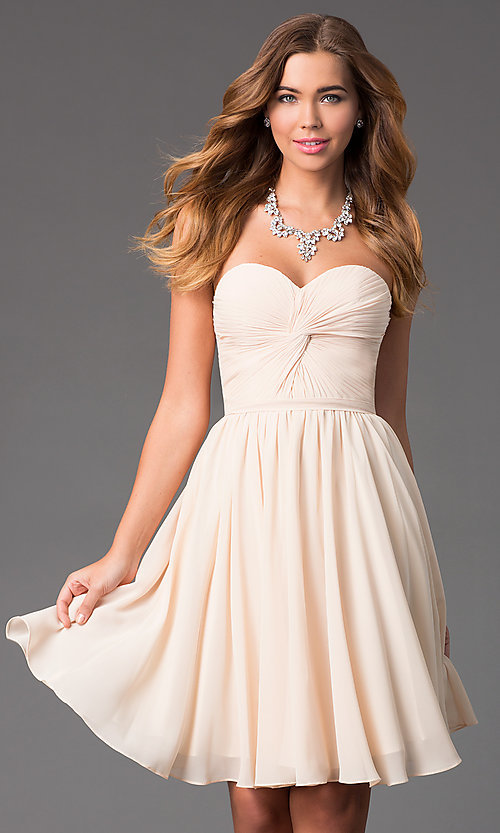 Image of Short Strapless Lace Up Sweetheart Dress Style: DQ-8951 Detail Image 1