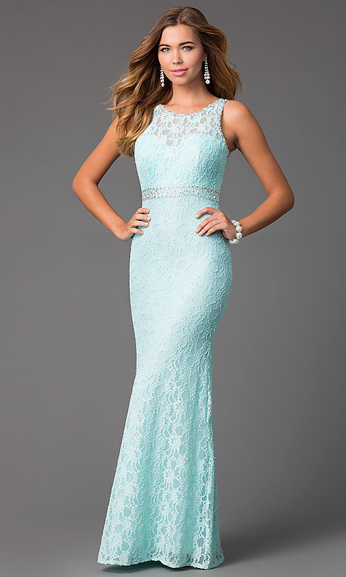 Image of long beaded-lace backless formal gown Style: DQ-8943A Front Image