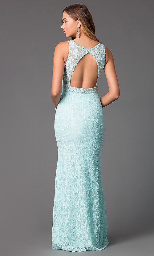Image of long beaded-lace backless formal gown Style: DQ-8943A Back Image