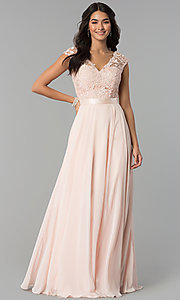 Image of Cap Sleeve V-Neck Floor Length Dress Style: CD-GL-G318 Detail Image 3
