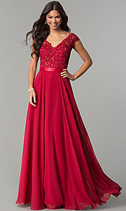 Image of Cap Sleeve V-Neck Floor Length Dress Style: CD-GL-G318 Detail Image 2