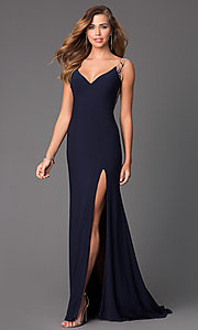 Image of Long Sheer Back Navy Blue Side Slit Gown Style: CD-GL-G303 Back Image