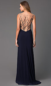 Image of Long Sheer Back Navy Blue Side Slit Gown Style: CD-GL-G303 Front Image