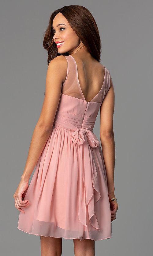 Image of sleeveless sheer-neckline short party dress. Style: PO-7006 Back Image