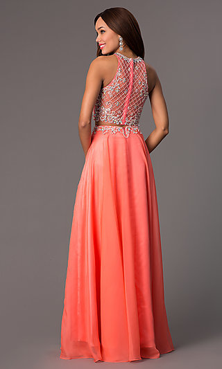 Long Jeweled Two-Piece Prom Coral-Pink Dress