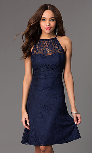 Knee Length Lace Sleeveless Dress