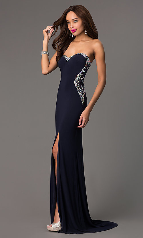 Image of navy-blue strapless sweetheart floor-length gown. Style: MF-E1778 Detail Image 1