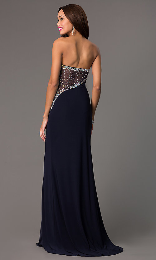 Image of navy-blue strapless sweetheart floor-length gown. Style: MF-E1778 Back Image