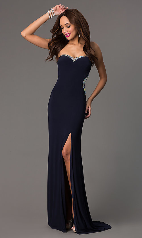 Image of navy-blue strapless sweetheart floor-length gown. Style: MF-E1778 Front Image