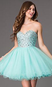 Image of Sweetheart Beaded Tulle Party Dress Style: DQ-9001 Front Image