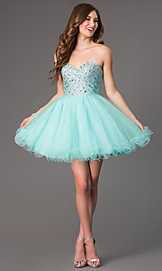 Image of Sweetheart Beaded Tulle Party Dress Style: DQ-9001 Detail Image 1