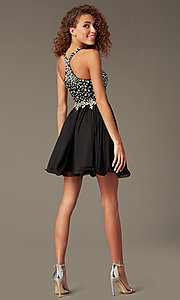Image of Short A-Line Racer-Back Beaded Dress Style: DQ-8997 Back Image