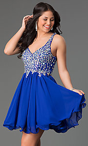 Image of Short A-Line Racer-Back Beaded Dress Style: DQ-8997 Detail Image 1