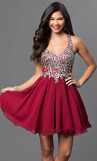 Short A-Line Racer-Back Beaded Prom Dress