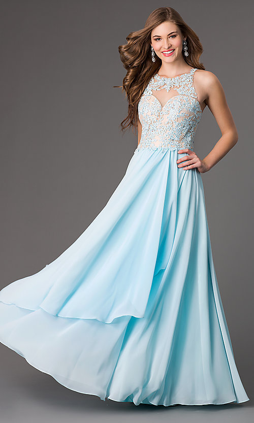 Image of Floor Length Lace Embellished Formal Gown Style: DQ-8871 Front Image