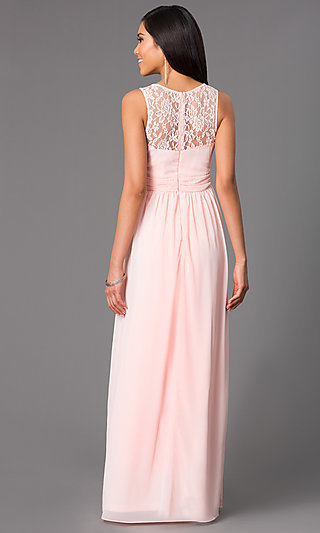 Floor Length Lace Pastel Sweetheart Gown .