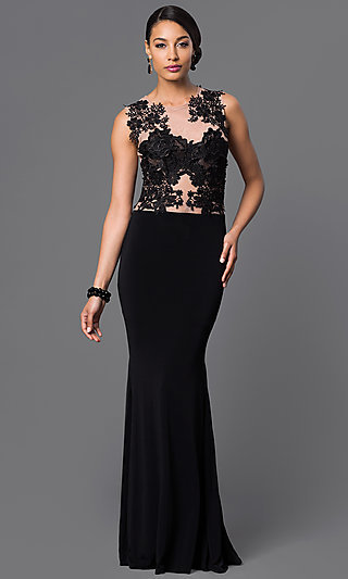 25f1fa7de2 Long Illusion Lace Jersey Formal Gown