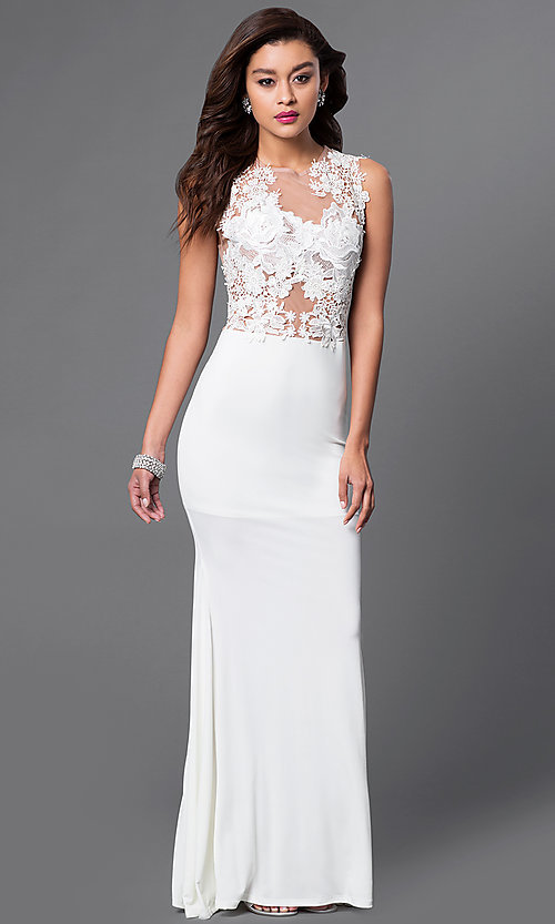 Image of long illusion lace jersey gown  Style: CQ-3661DK Detail Image 2