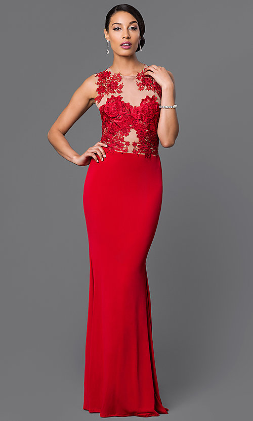 Image of long illusion lace jersey gown  Style: CQ-3661DK Front Image