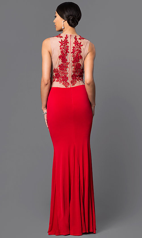 Image of long illusion lace jersey gown  Style: CQ-3661DK Back Image
