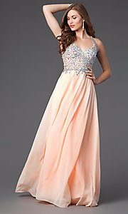 Image of Racer Back Beaded Floor Length Prom Gown Style: DQ-8998 Front Image
