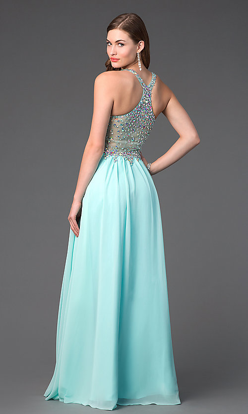 Image of Racer Back Beaded Floor Length Prom Gown Style: DQ-8998 Back Image