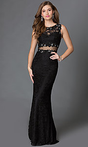 Image of Sleeveless Lace Mock Two Piece Long Gown Style: DQ-9040 Front Image