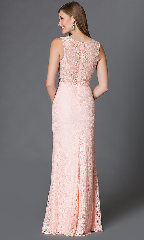 Image of Sleeveless Lace Mock Two Piece Long Gown Style: DQ-9040 Back Image