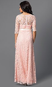 Image of long lace dress with half sleeves by Sally Fashion Style: SF-8793 Back Image
