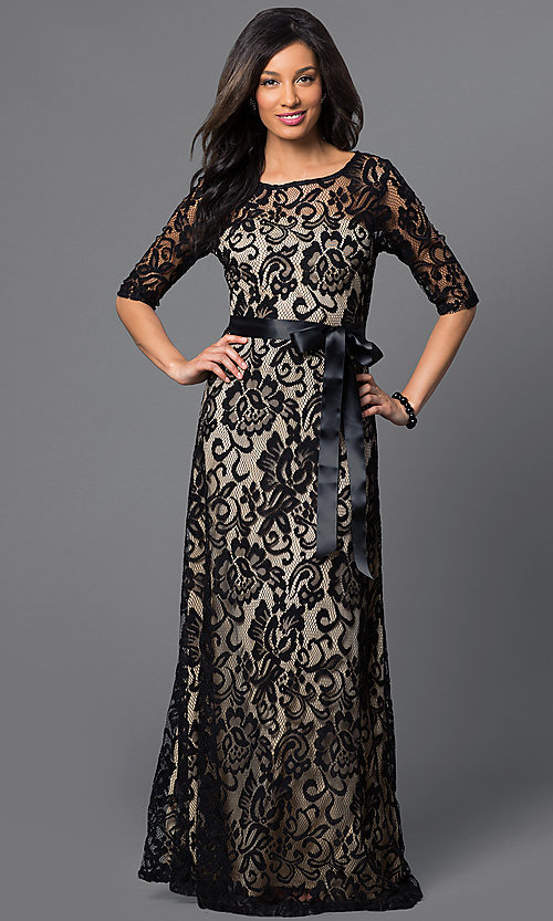 Image of long lace dress with half sleeves by Sally Fashion Style: SF-8793 Front Image