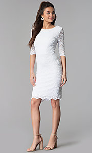 Image of knee-length lace dress with sleeves Style: SF-8795 Detail Image 2
