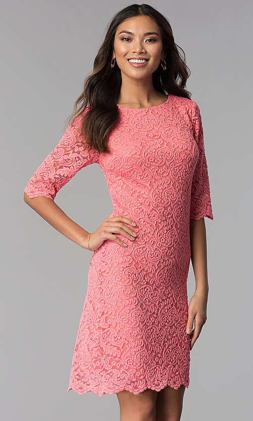 Image of knee-length lace dress with sleeves Style: SF-8795 Detail Image 3