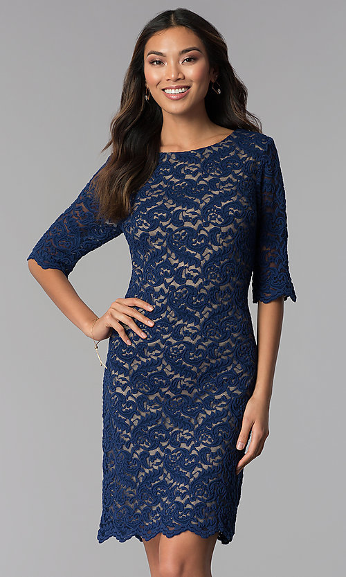 Image of knee-length lace dress with sleeves Style: SF-8795 Front Image