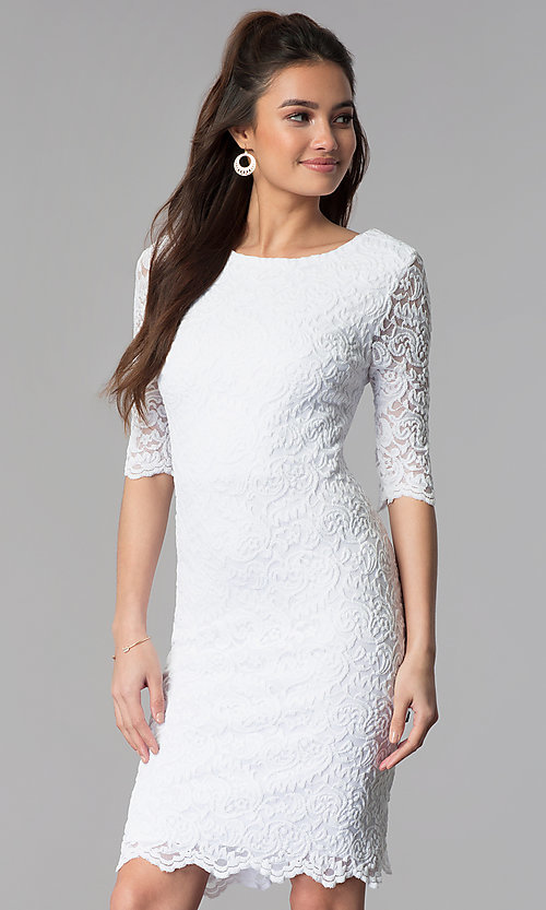 Image of knee-length lace dress with sleeves Style: SF-8795 Detail Image 1