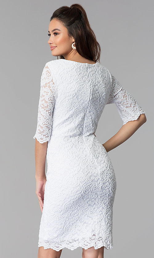 Image of knee-length lace dress with sleeves Style: SF-8795 Back Image