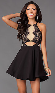 Image of black sleeveless lace dress. Style: LUX-LD1180 Front Image