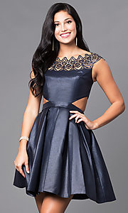 Image of short cap-sleeve mock two-piece dress. Style: SH-9756 Front Image