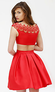 Image of short cap-sleeve mock two-piece dress Style: SH-9756 Back Image