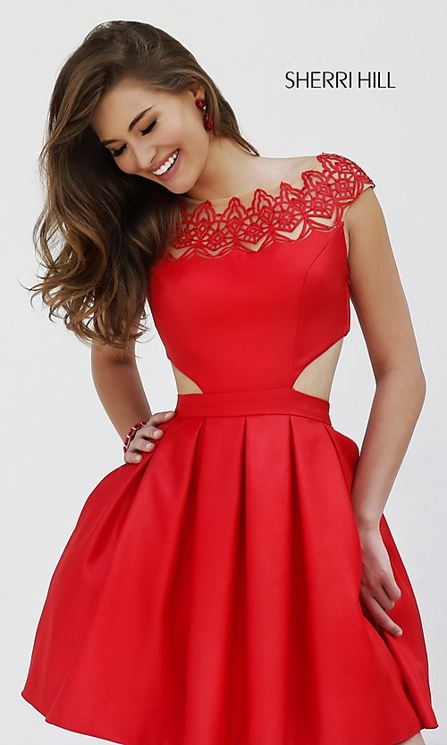 Image of short cap-sleeve mock two-piece dress Style: SH-9756 Front Image