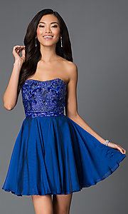 Image of strapless beaded A-line short dress Style: SH-1954 Front Image