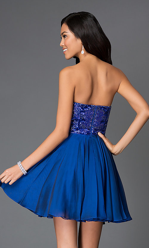 Image of strapless beaded A-line short dress Style: SH-1954 Back Image
