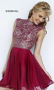 Image of short cap sleeve beaded dress Style: SH-1979 Front Image