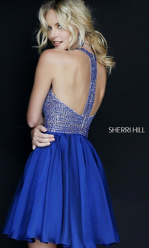 Image of Short Beaded Halter Top Dress Style: SH-1971 Back Image