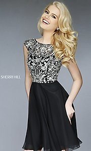 Image of short high neck dress with cap sleeves by Sherri Hill Style: SH-32320 Front Image