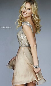 Image of short high neck dress with cap sleeves by Sherri Hill Style: SH-32320 Back Image