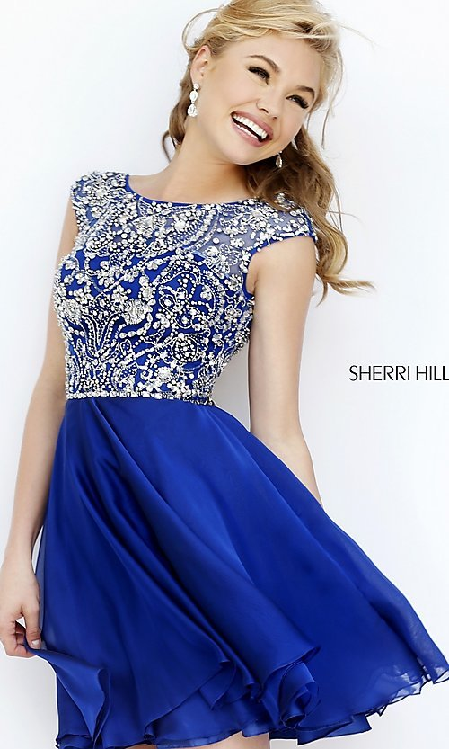 Image of short high neck dress with cap sleeves by Sherri Hill Style: SH-32320 Detail Image 1