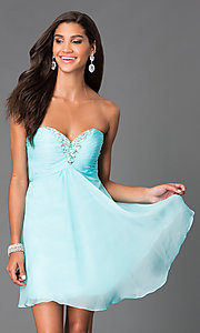 Image of strapless Alyce short sweetheart dress Style: AL-3668 Detail Image 3