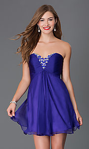 Image of strapless Alyce short sweetheart dress Style: AL-3668 Detail Image 2