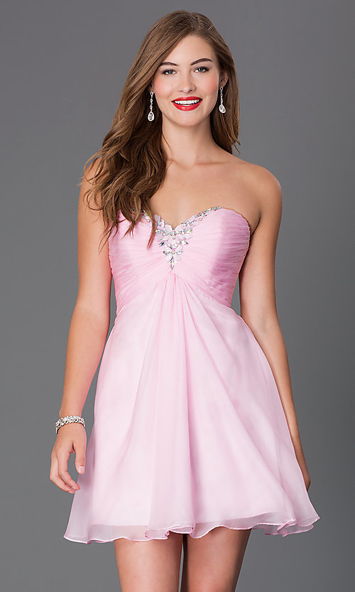 Image of strapless Alyce short sweetheart dress Style: AL-3668 Detail Image 1